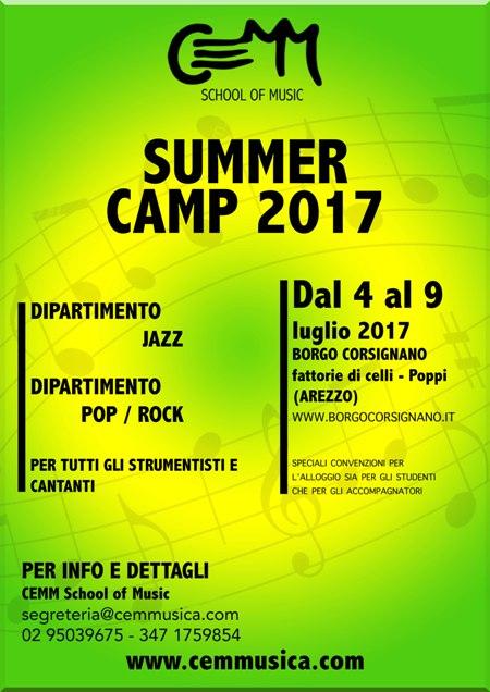 CEMM Summer Camp dal 4 al 9 Luglio 2017  Seminario di MusicaPOP/ ROCK e JAZZ