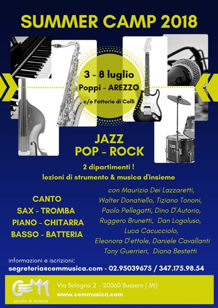 Cemm Summer Camp  Dal 3 al 8 luglio 2018  –  Fattorie di Celli Poppi – Arezzo
